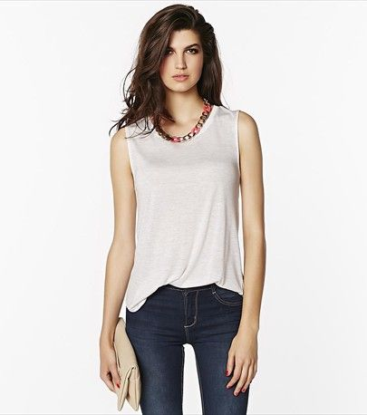 Keep it casual with this essential yet glamorous white muscle tank!