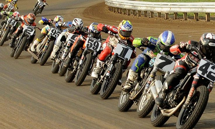 AMA Flat Track Motorcycle Racing. Full Throttle Down The Stretch!