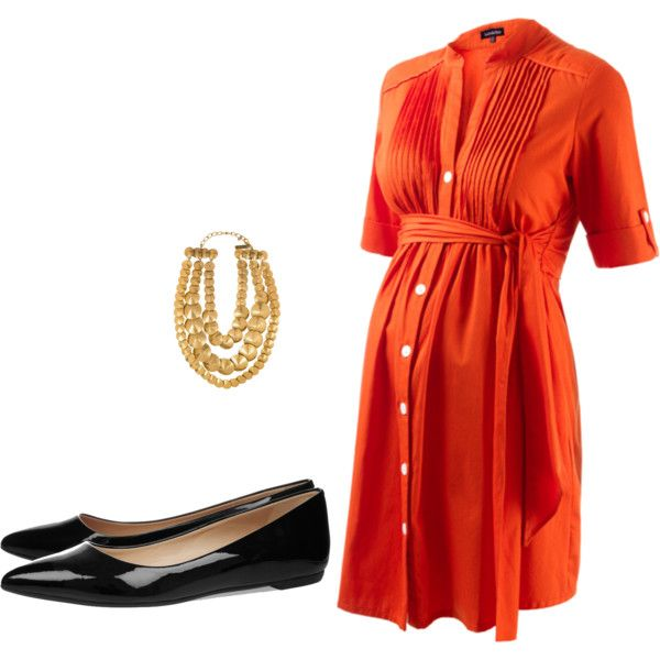 """Orange Maternity Dress"" - Isabella Oliver"