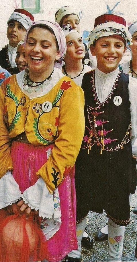 Traditional folk clothing from the Turkish Republic of Northern Cyprus.  Style: mid-20th century.   These are recent workshop-made copies, as worn by folk dance groups.