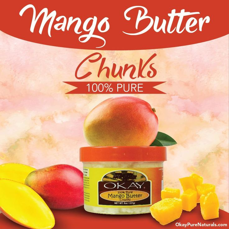 OKAY 100% Natural Mango Butter can be used to provide relief from the dryness of eczema, dermatitis and psoriasis. It protects against UV radiation and heals sunburn. You can find this product on OkayPureNaturals.com #okay #okaypurenaturals #purenaturals #natural #mango #butter #relief #eczema #dermatitis #psoriasis #UVradiation #sunburn #skincare #skinlove
