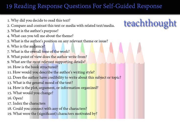 19 Reading Response Questions For Self-Guided Response