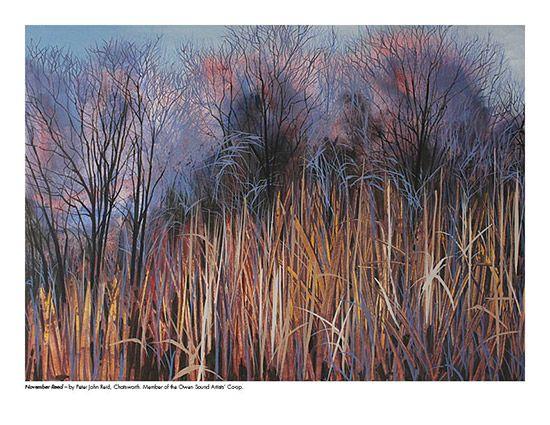 2015 Landscape Calendar | The Art Map November Reeds by Peter John Reid - October