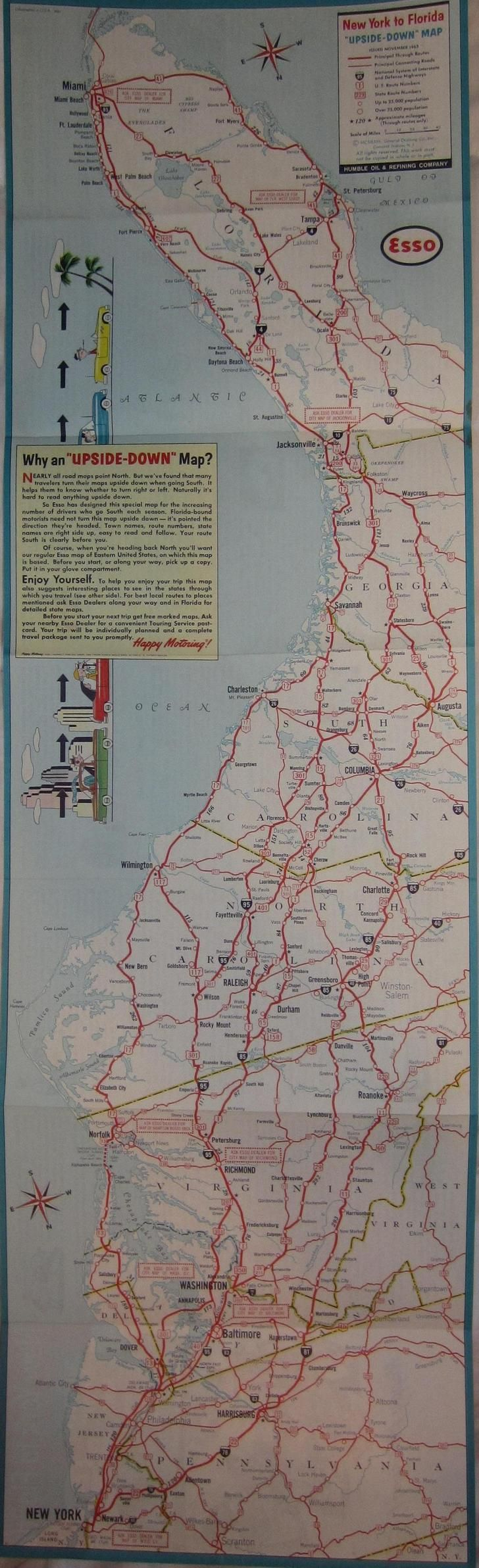 1963 Upside down NY to Florida map for southbound drivers