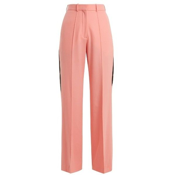 Racil Cumberland side-stripe wide-leg wool trousers ($490) ❤ liked on Polyvore featuring pants, pink, striped wide leg trousers, pink pants, side stripe trousers, wide leg trousers and stripe pants