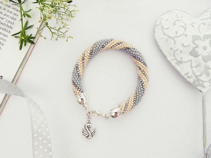 Bransoletka Swan - ilovehandmade - Bransoletki z koralików