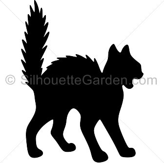 Scary cat silhouette clip art. Download free versions of the image in EPS, JPG, PDF, PNG, and SVG formats at http://silhouettegarden.com/download/scary-cat-silhouette/