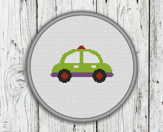 Green Car Counted Cross Stitch Pattern Vehicles by CrossStitchShop