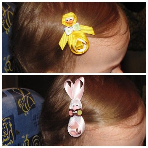 DIY Chick and Bunny Ribbon Hair Clips. Extremely detailed tutorials from Show, Tell, Share…: Chick tutorial here, bunny tutorial here.