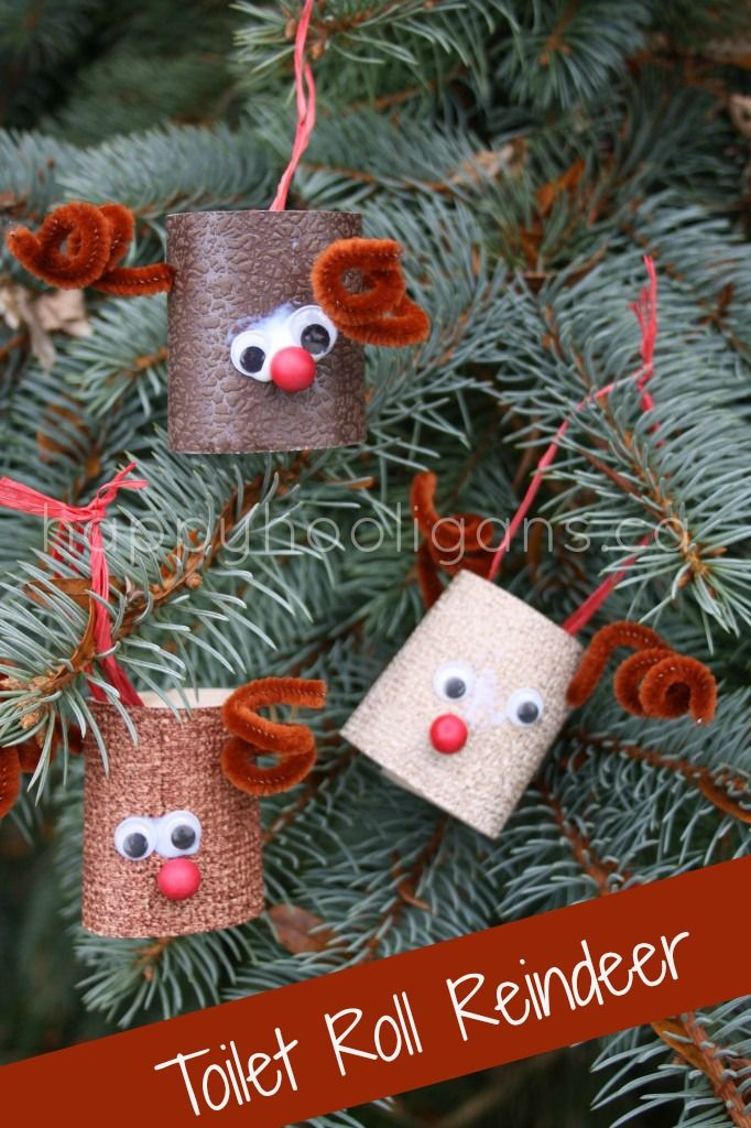 Toilet roll reindeer, great Christmas crafts for bored kids on break! These would make adorable name place settings at each of you holiday plates too!