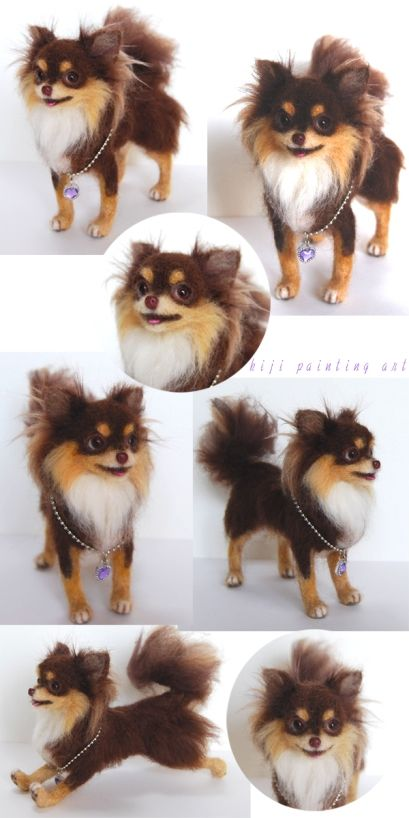 Felted long-haired chihuahua. My Mom had a dog that looks like