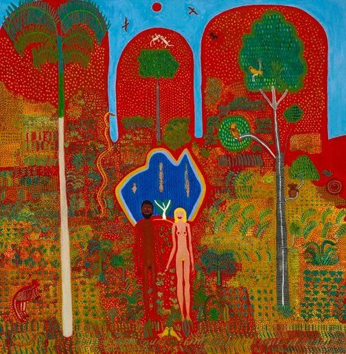 Trevor Nickolls    (Australia 1949–Oct 2012)    Language group      Ngarrindjeri, Southern Riverine region     Title      The Garden of Eden   Place of origin      Adelaide → South Australia → Australia  Year      1982  Media category      Painting   Materials used      synthetic polymer paint on canvas  Dimensions        125.0 x 121.7cm sight; 125.5 x 124.3 x 4.3cm frame