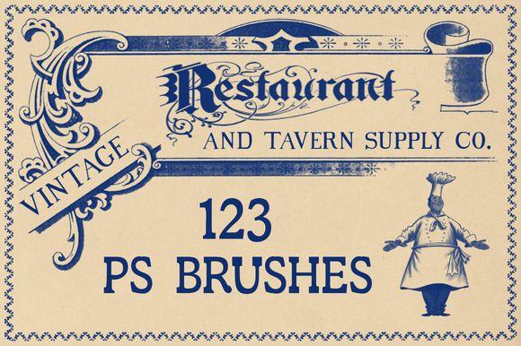 Vintage Restaurant Brushes by Blue Line Design on @creativemarket
