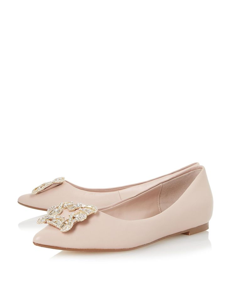 Size 6 Dune Briela Flat Brooch Trim Court Shoes online now at House of Fraser.
