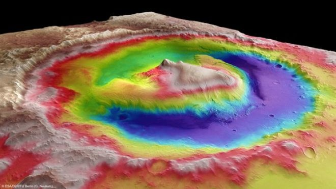 Mount Sharp, Mars via foxnews.com Credit: ESA/DLR/FU Berlin (G. Neukum). #Mount_Sharp #Mars #G_Neukum
