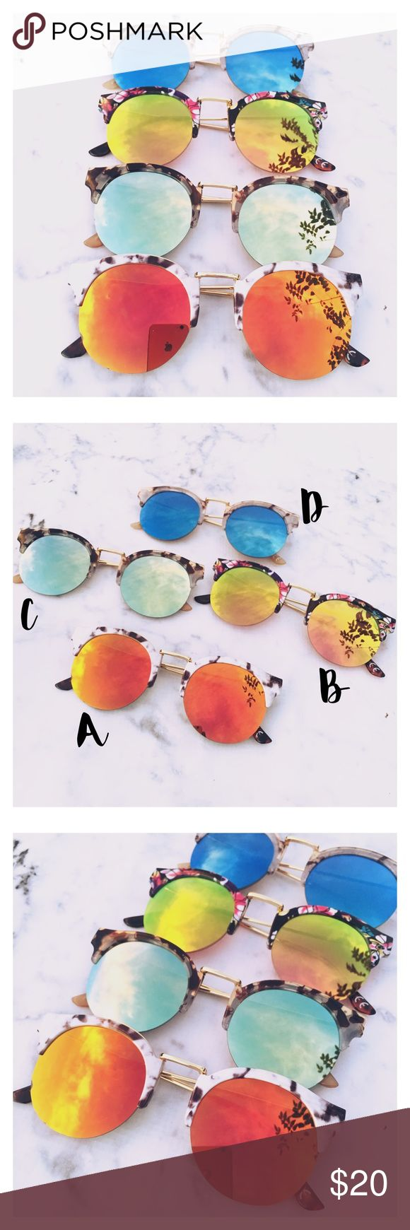 Just In- Floral Aviator Sunglasses Chic floral print Aviator sunglasses. Perfect for spring summer. Festival sunglasses. Mirrored sunglasses. UV protection. Brand new. Top quality. Price is firm unless bundled. Thank you 💕 Accessories Glasses