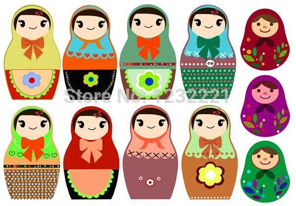 """5 unidades 21 x 29.5 cm / 8.3 """" x 11.6 """" A4 papel muñecas rusas prensa del calor de transferencia de papel Textil hierro en tela de Color claro transferencias de calor(China (Mainland))"""