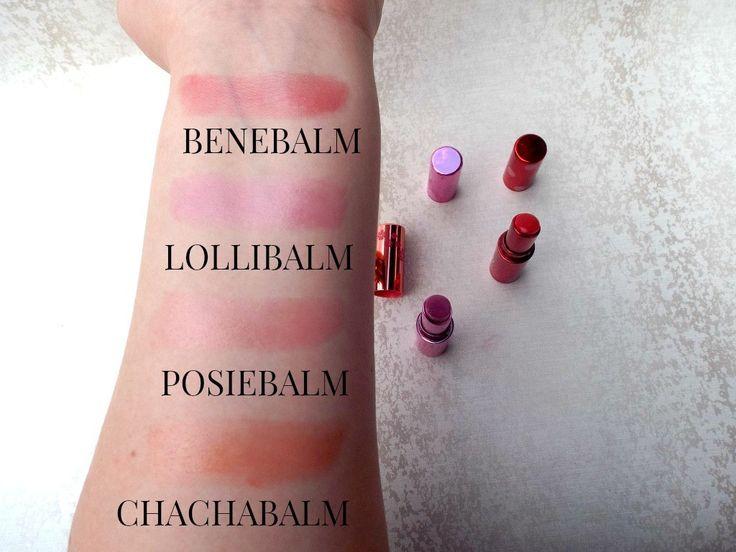Review & Swatches: Benefit Tinted Lip Balms Swatches | Benebalm | Lollibalm | Posiebalm | Chachabalm | emilyloula