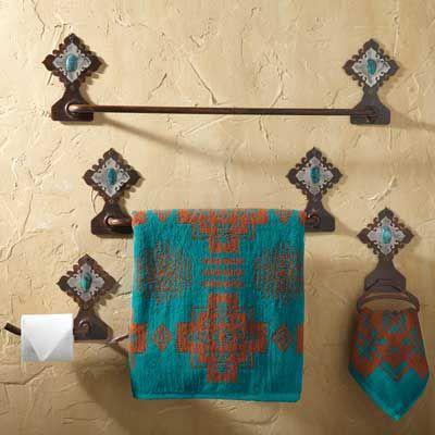 22 best southwest decorating images on pinterest for Southwestern towel bars