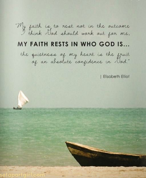 My faith rests in who God is...