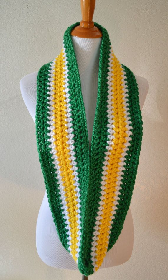 Green, White and Yellow Striped Infinity Scarf, Crocheted Scarf in Sports Team Colors, Green Bay Packers, Seattle Sonics, John Deere