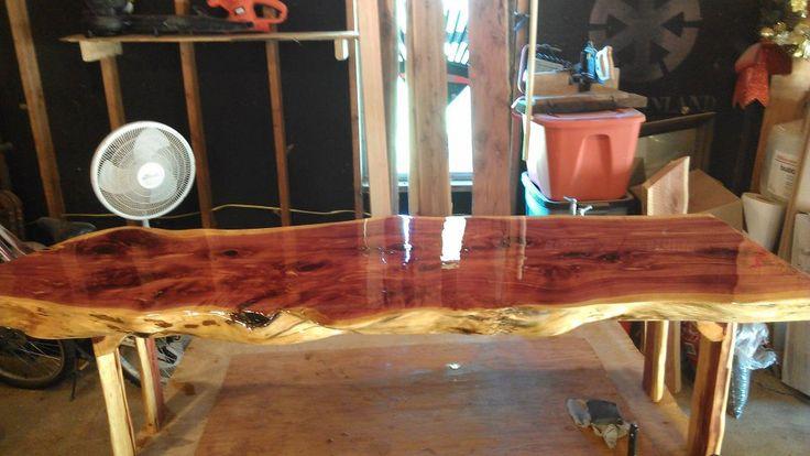 Red Cedar Live Edge Coffee Table table rustic country western lodge cedar wood high gloss living room coffee table coffee sofa table