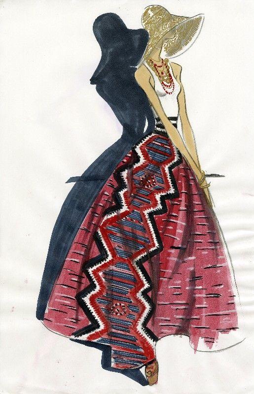 Ralph Lauren - Summer style aztec print skirt. #illustration