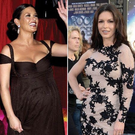 Catherine Zeta Jones before and after. She used Atkins Diet to get back in shape after pregnancy.   Pinned for BabyBump, the #1 mobile pregnancy tracker with the built-in community for support and sharing.