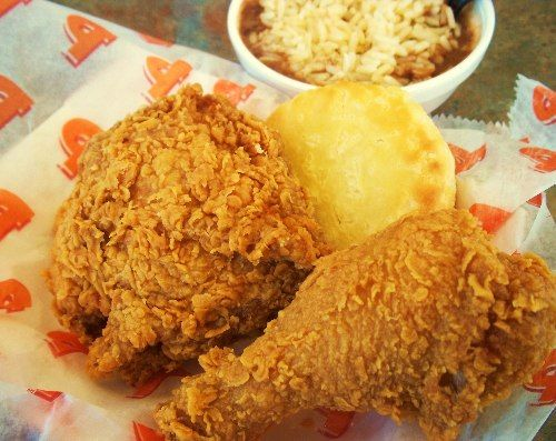 Popeye's Fried Chicken and dirty rice