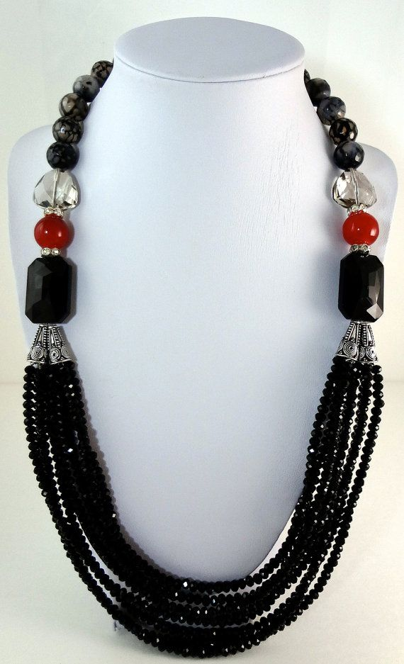 Black Jade Necklace - the use of the double silver cones really help this necklace look substantial.