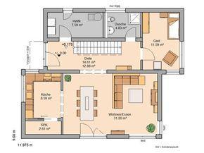 Kern-Haus Familienhaus Futura Pult Grundriss Erdgeschoss