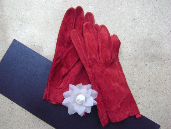 ON SALE Red Suede GlovesVintage GlovesLeather by WowOne on Etsy