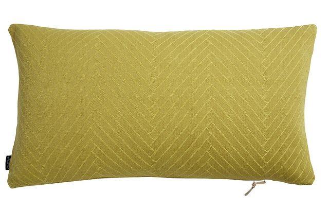 Dit gele kussen is geweven van biologische katoen met visgraat patroon. Prachtig langwerpig sierkussen van het Deense merk OyOy Living. Gratis verzending. - € 54,00