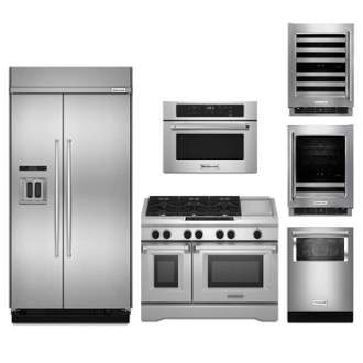 View the KitchenAid KA-SBS48BI-DF48FS-24BI1000-24BIVW-FD 6-Piece Kitchen Package with 48'' Built-In Refrigerator, 48'' Dual Fuel Range, 1000 Watt Microwave, Dishwasher and Wine/Beverage Set at Build.com.