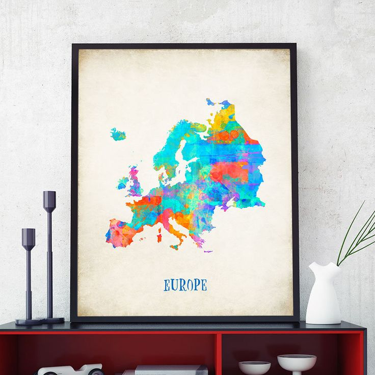 Europe Map Print, European Map, Map of Europe Wall Art, Watercolour Europe Map Print, Colourful Europe Map Poster, Nursery Decor (717) by PointDot on Etsy
