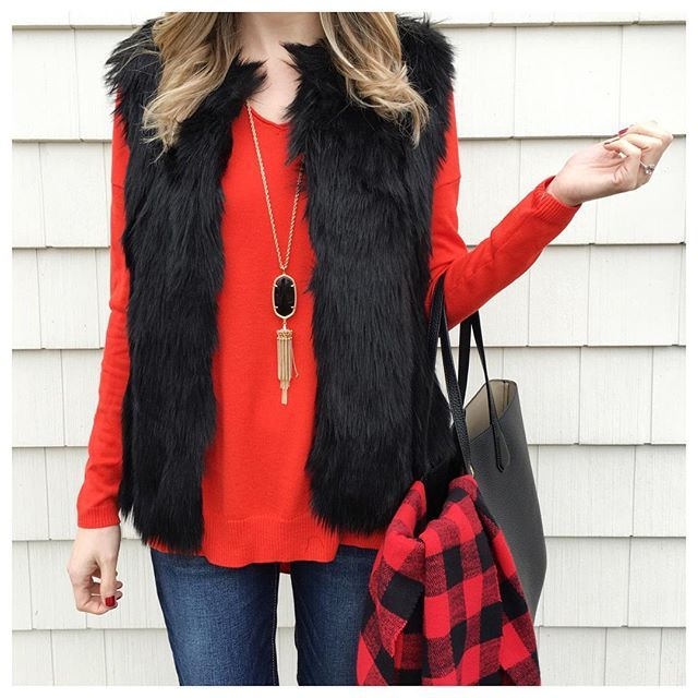 If you're looking for an understated, yet fabulous NYE piece, this faux fur vest fits the bill and is marked down to under $75. I'm obsessed with it. Linked some gorgeous red sweaters on #sale too. #outfit details in profile link @liketoknow.it www.liketk.it/23DoI #liketkit