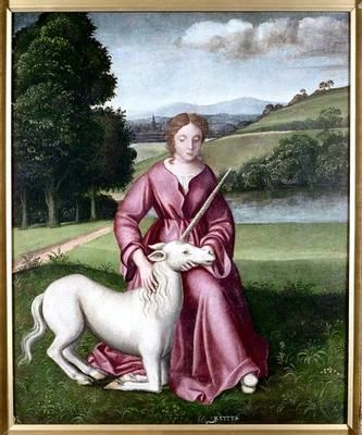 Chastity(aVirginandaUnicorn), c.1500-50, CircleofTimoteo Viti; Chastity is represented with a virgin and unicorn, symbol of holiness and chastity; the inscription, 'KSTITA' refers to the Italian word for chastity, 'Castità'. (Welcome Library/vads.ac.uk)