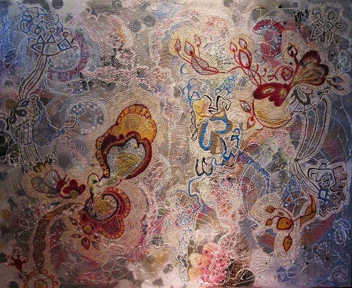 Lantern, Mixed Media Painting, Veronica Gunnarsson
