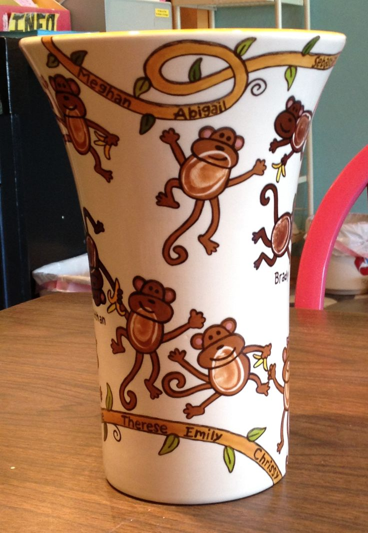 Monkey Fingerprint Teacher Gift | Paint Your Own Pottery | Paint Your Pot | Cary, North Carolina