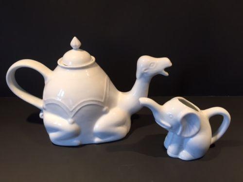 Details about set of camel shape white porcelain teapot bia 1l plus cute elephant creamer milk - Elephant shaped teapot ...