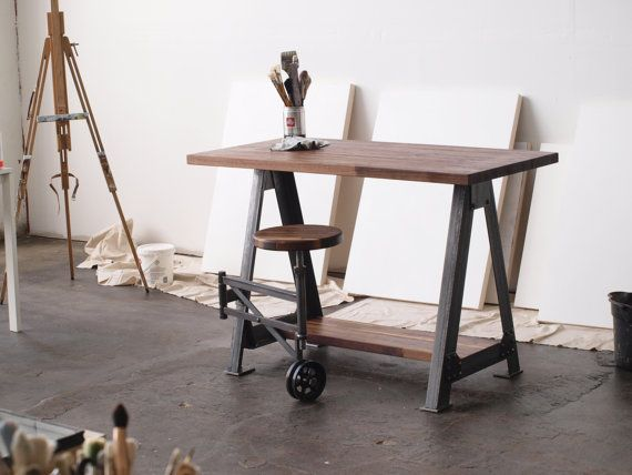 Drool.... Alas, $1750 :( Walnut Stand Up Sit Down Work Station Desk and stool