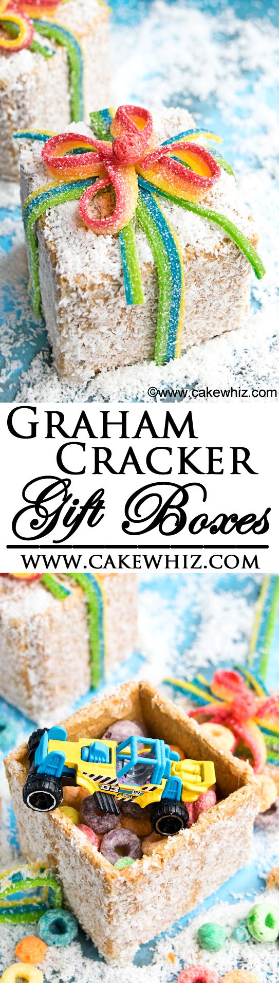 Fun and completely edible GRAHAM CRACKER GIFT BOXES with hidden snacks and toys. So much fun to make for kids during Christmas. {Ad} From cakewhiz.com