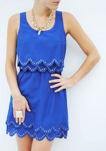scalloped edges.: Edge Dresses, Blue Scallops, Dreams Closet, Blue Dresses, Cute Dresses, Cobalt Blue, Scallops Edge, Royals Blue, Blue And White