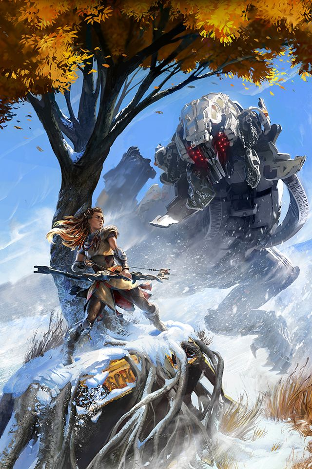 Poster of #Aloy hunting a mechanical creature from #Horizon: Zero Dawn.