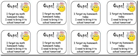 Oops Slips for Missing Homework