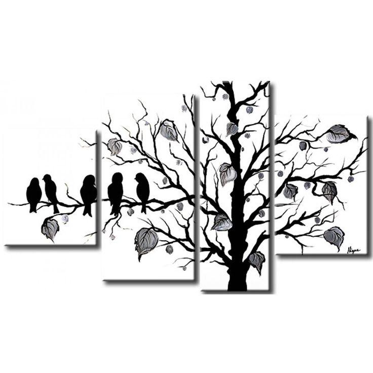 Obraz ręcznie malowany w kolorystyce czarno-białej - niezwykle elegancka dekoracja ścienna dedykowana dla nowoczesnych wnętrz. #obraz #obrazręczniemalowany #obrazmalowany #czarnobiały #black&white #dekoracje #aranżacje #homedecor