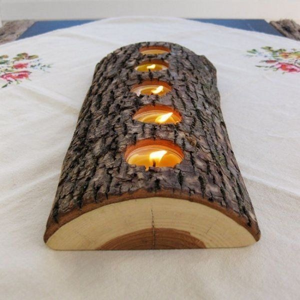 rustic wood decoration tea candles tree bark candle holder DIY Christmas table decoration