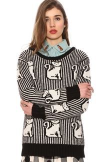 Jersey de punto , rayas negras y blancas con gatos