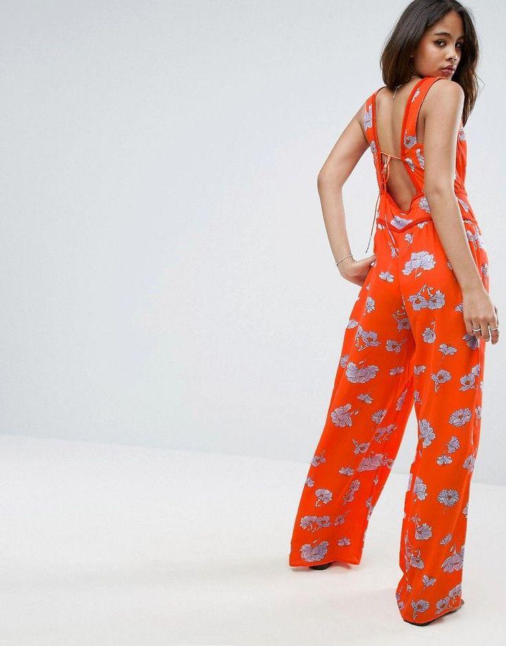 ASOS TALL Floral Wide Leg Beach Jumpsuit - Multi
