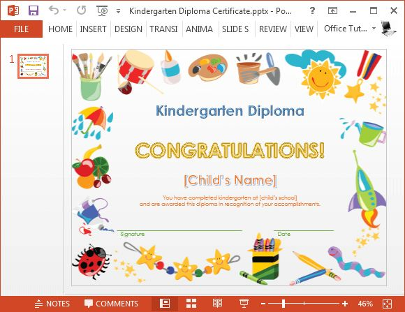 Kindergarten diploma certificate PowerPoint template Éducation - merit certificate comments